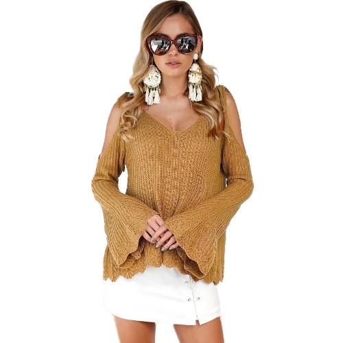 Mulheres Malha de malha V Neck Cold Shoulder Flare Sleeve Spaghetti Straps Loose Casual Streetwear