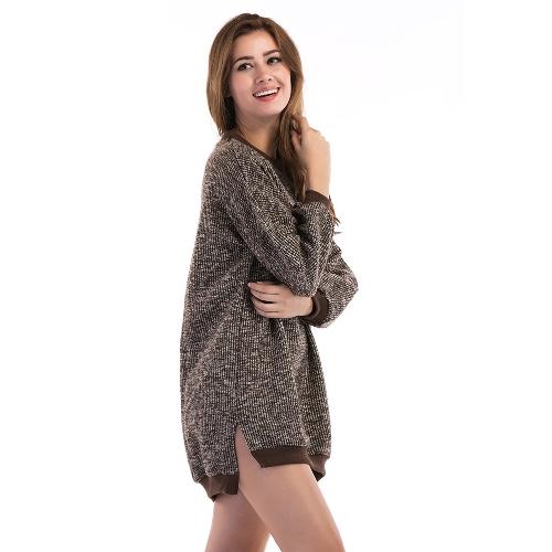 New Women Midi Knitted Sweater Long Sleeve Split High-Low Hem Loose Warm Jumper Pullover Knitwear Khaki/Grey