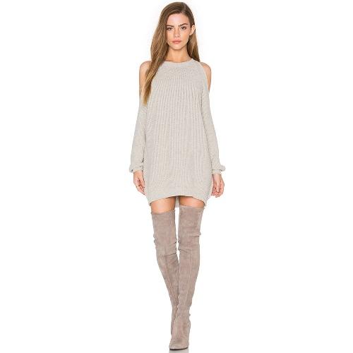 Frauen Strick Pullover Kleid aus Schulter O-Neck Langarm Tunika Pullover Pullover Tops Khaki