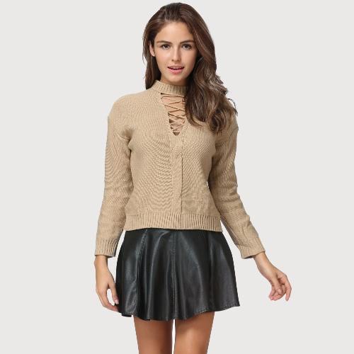 Las mujeres hechas punto ahuecan hacia fuera tiran encima del suéter atan para arriba faltaron la camiseta larga de la costura del Knit de la manga del hombro