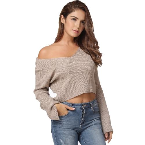 Modne kobiety z dzianiny sweter Sexy Off Shoulder przycięte Top V krój Flare Sleeve luźny pulower z dzianiny Khaki / White
