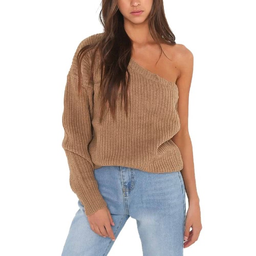 Las mujeres atractivas tejieron el suéter una manga larga del hombro sólida suelta el jersey caliente del suéter del puente blanco / de color caqui