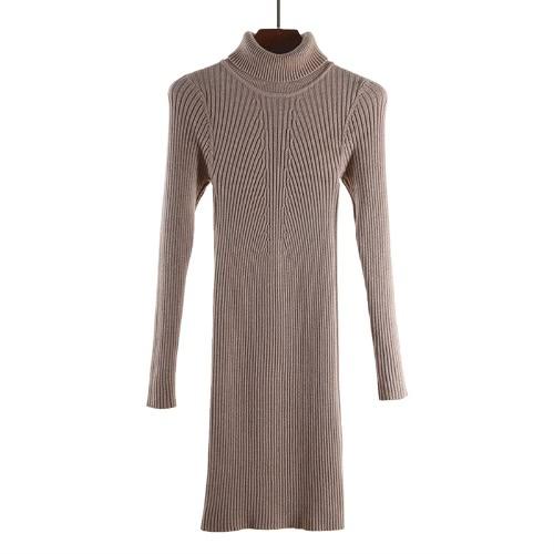 Sexy otoño invierno Slim Turtleneck Bodycon mujeres suéter vestido
