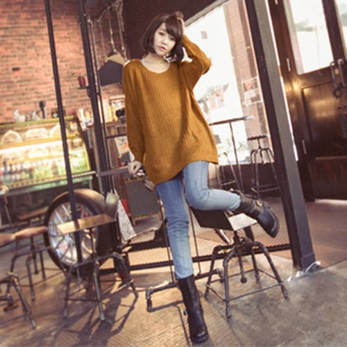 New Women Knitted Sweater Solid Color Batwing Long Sleeve Loose Warm Jumper Coat Pullover Knitwear