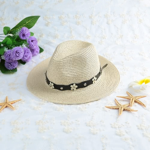 Summer Straw Hat Beach Sun Hat Fashion Women's Hat Solid Color Khaki/Beige
