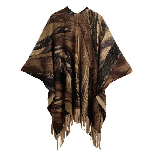 Mulheres Winter Poncho Cape Top Tassel franjada Sweater Cardigan Imprimir Cachecol Casaco vermelho / cinza / Khaki