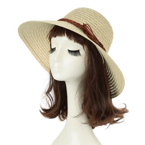 Mulheres chapéu de palha folhas largas Grande Brim dobrável Floppy Casual Verão Vintage Praia Cap Khaki