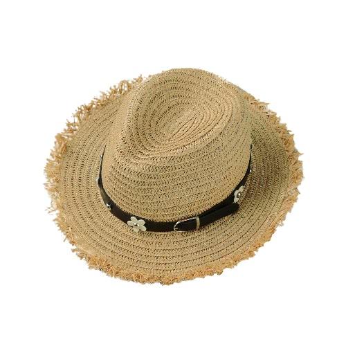 Las nuevas mujeres del sombrero de paja de la margarita del remache de la correa del borde ancho de Sun del verano de la playa del casquillo del sombrero de Panamá Negro / caqui