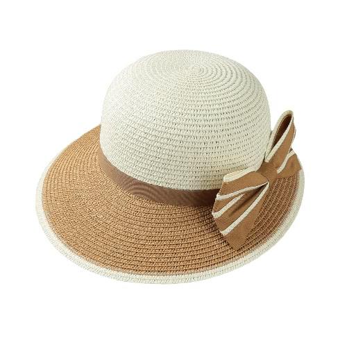 New Moda feminina Bow chapéu de palha Contraste Cor aba larga Summer Beach Sun Cap Floppy Trilby Hat Khaki / café / azul escuro