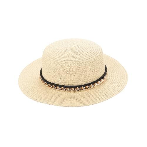 Nueva manera de las mujeres sombrero para el sol sombrero de paja Sunbonnet Playa Panamá Sombrero ancho sólido del verano del borde