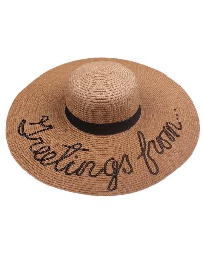 Verano Mujer Straw Floppy Hat Wide Brim Letter Sequins Plegable Sun Beach Holiday Casual Cap Blanco / Beige / Khaki