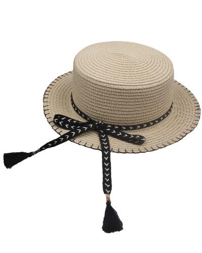 Donne Summer Sun Cappello di paglia Cappello smontabile dell'arco Summer Flat regolabile Panama Beach Cap vacanza