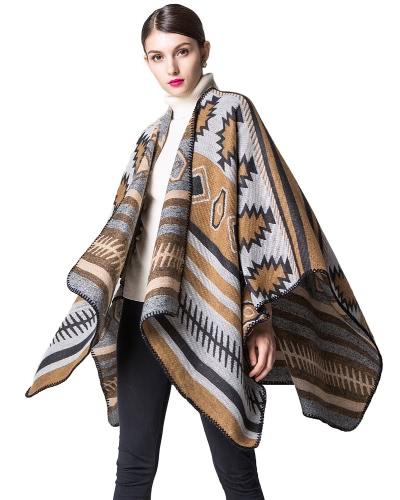 Mulheres Poncho cachecol Cardigan Sweater Impressão geométrica quente