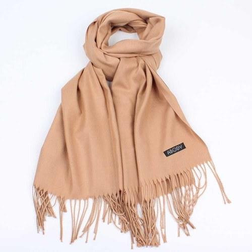 Abody femmes écharpe tricotée chaude douce confortable ourlet frangé écharpe solide hiver extérieur châle écharpe
