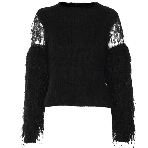 Elegant Women Slim Knitted Sweater Lace Fluffy Faux Fur O-Neck Long Sleeve Pullovers Top Knitwear