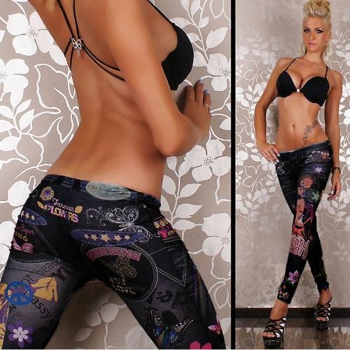 Mulheres sexy Slim Leggings calças justas de estiramento impressão gráfica calça calças desporto Streetwear Capris preto