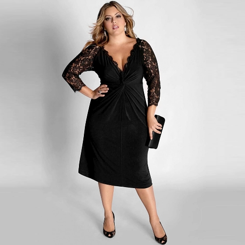 Nueva Sexy vestido de las mujeres V profunda cuello de encaje manga plisada delgado partido frente grande vestido negro de noche