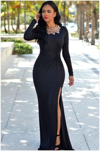 e63160559 Nuevo Sexy mujer largo vestido de lado acanalada sin respaldo partido sólido  Color cremallera Bodycon O