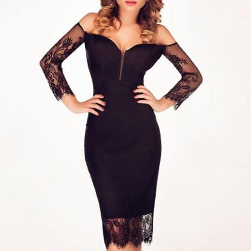 Sexy Women Midi Dress Lace Splice Off Shoulder Backless Bodycon Dress Elegant Ceremony Cocktail Party Wear Black