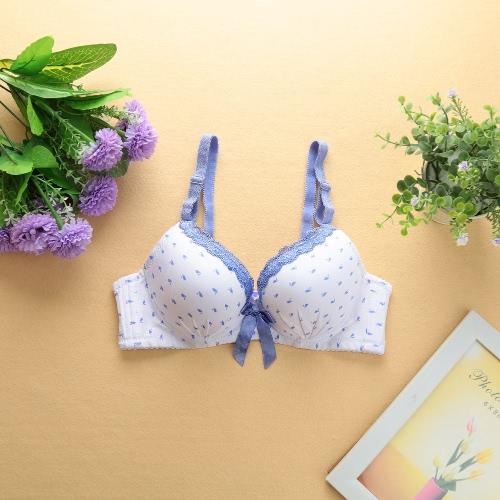Mujeres sexy chicas sujetador encaje de impresión Animal arco 3/4 tazas empuje acolchado correas ajustables con aro ropa interior ropa interior azul/rosa