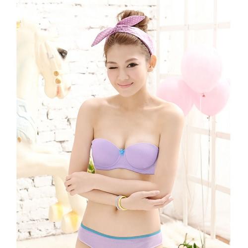 Nueva moda mujer sujetador empuja hacia arriba el Color caramelo media taza arco con aro de apoyo acolchada ropa interior dulce