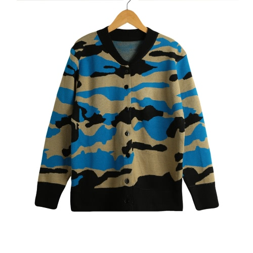 New Winter Women Knitted Cardigan Camouflage Pattern Button O-Neck Long Sleeves Casual Loose Outerwear Coat