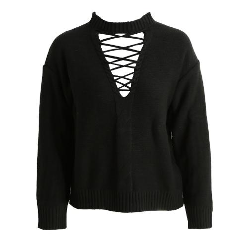 Mode Frauen aushöhlen Pullover Strap Plunge V Front Dropped Langarm Knit Crop Top Schulter