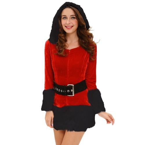 Sexy Frauen 3 Stück mit Kapuze Sankt-Kostüm Samt-Pelz-Ordnungs-Waistbelt Stiefel Abdeckung Kleid Weihnachten Leistung Uniform Schwarz / Weiß
