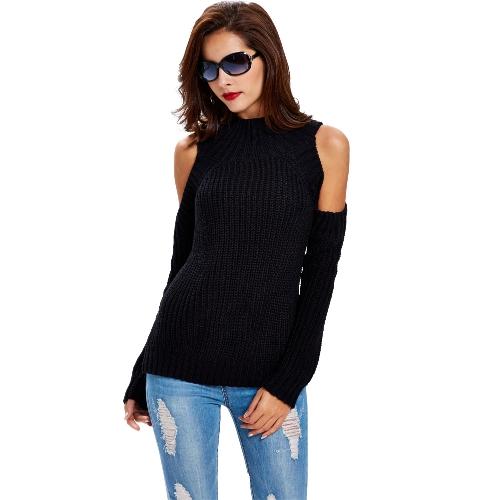 Las nuevas mujeres suéter de punto de cuello de tortuga Cold Shoulder de las rayas verticales que hacen punto caliente del jersey Tops