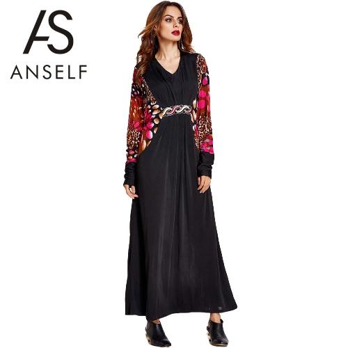 Anself nuevo de las mujeres musulmanes largo vestido de impresión de empalme de la vendimia V manga del cuello del Batwing flojo Kaftan islámica Abaya Jilbab traje vestido Negro