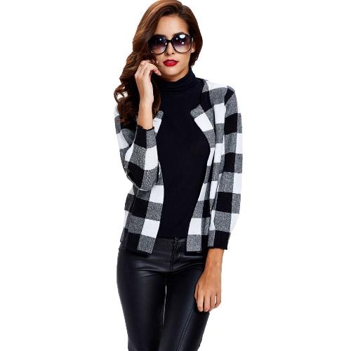 New Winter Damen Strickmantel Sweater Cardigan Kontrastfarbe Plaid O-Ansatz Tasche Langarm-Kurzschluss-Mantel-Oberbekleidung Pullover Tops Rot / Schwarz