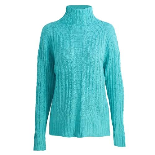 Otoño Invierno suéter de las mujeres del cuello alto de la torcedura delgada elástico de punto sólido puente suéter superior