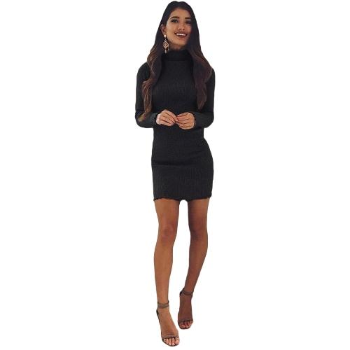 Mulheres Slim Bodycon Vestido Outono Inverno Alto pescoço manga comprida de malha Elastic Sweater Party Night Dress