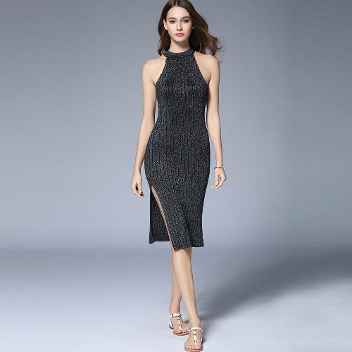 Sexy Women Ribbed Robe Dress Halter Neck Sleeveless Split Sparkling Metal Midi Bodycon Nightclub A-Line Dress Black