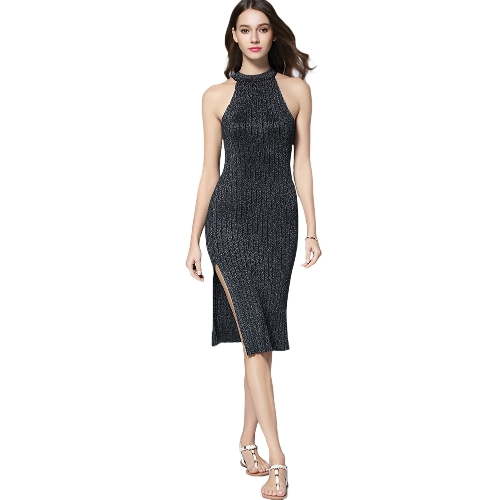 Sexy Women Ribbed Robe Dress Halter Neck Sleeveless Split Espumante Metal Midi Bodycon Nightclub A-Line Vestido Preto