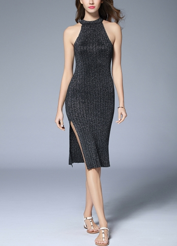 Sexy Women Ribbed Robe Halter Neck Sleeveless Split Sparkling Metal Midi Bodycon A-Line Dress