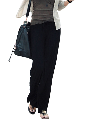 Pantalones anchos flojos de la mujer del invierno Pantalones sólidos casuales del sólido de la alta cintura elástico