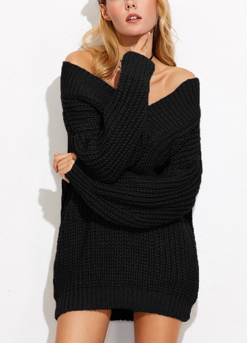 Mulheres Sweater Off Shoulder V Neck Chunky Knit manga comprida Sexy Loose Knitwear