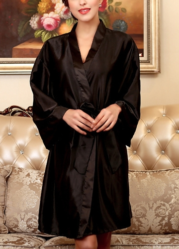 Frauen Silk Satin Night Robe Bademantel kurze Kimono Morgenmantel Nightgown Nachtwäsche