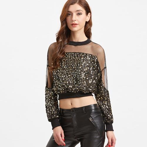 New Sexy Women Gold Sequined Crop Top Sheer Mesh O Neck Długi rękaw Krótki T-Shirt Czarny