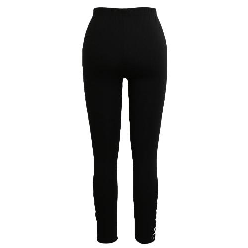 Las mujeres de los pantalones de fitness polainas elásticos de las medias del recorte del entrenamiento de deporte Negro / gris claro / gris oscuro