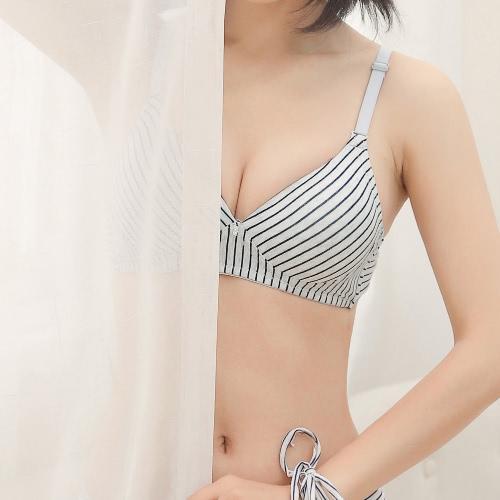 Women Striped Wireless Bra Cotton Thin Padded Push Up Back Closure Bra Brassiere
