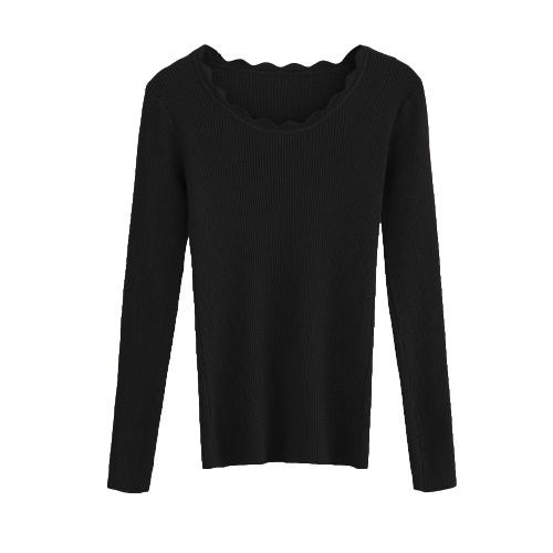 Las nuevas mujeres hicieron punto la sudadera delgada larga sólida del suéter del invierno del otoño de la manga larga del suéter Top fino básico de los géneros de punto