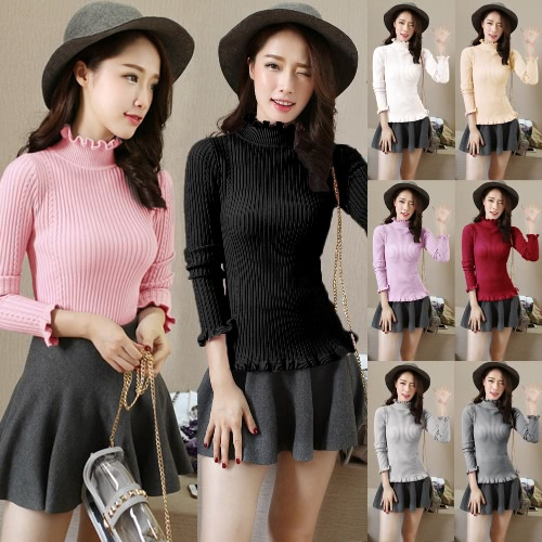Mujeres Ribbed Knitted Pullover Suéteres Turtle Neck Ruffles Sólidos Slim Stretchy Jumpers Knitting Top