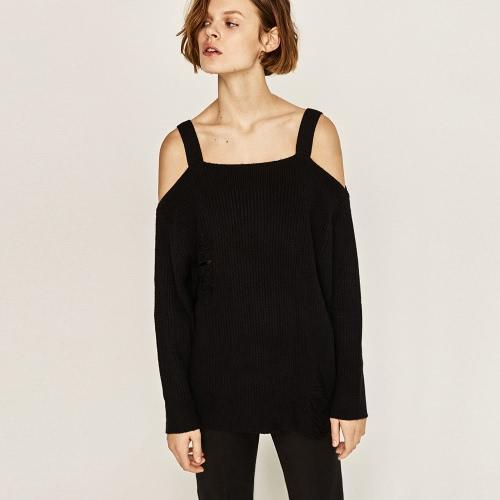 Las nuevas mujeres de otoño de invierno hecho punto suéter espaguetis correa de manga larga ahuecar suéter Sling gris / negro