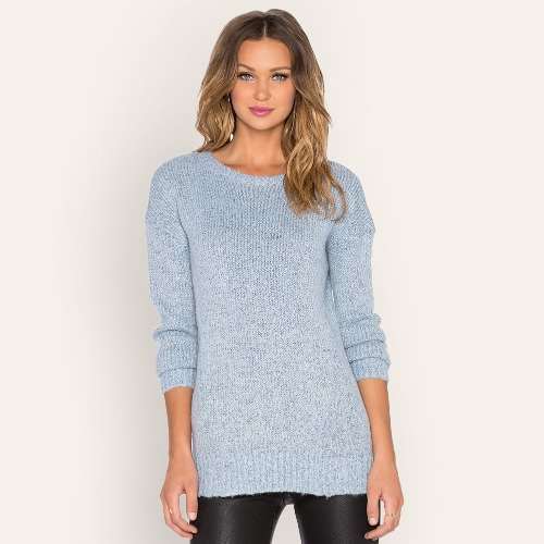 Frauen Strick Pullover Pullover Drop Schulter O Hals Ribbed Pullover Stricken Top Light Blue