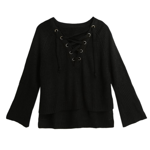 Flare Sleeve Knitted Sweater Women Lace Up V-Neck Pullover Sexy Jumper Casual Loose Split Knitwear