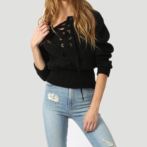 Nowa zimowa damska sznurowane sweter z dekoltem V długie rękawy Prążkowane mankiety Hem ciepłe swetry z dzianiny
