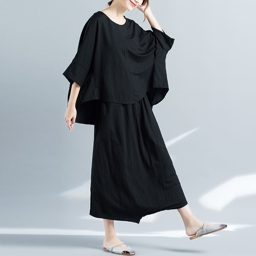 TOMTOP / Mulheres Loose Two-Piece Top Wide Leg Trousers Solid High-Low Hem Batwing Sleeves Casual Blouse Pants