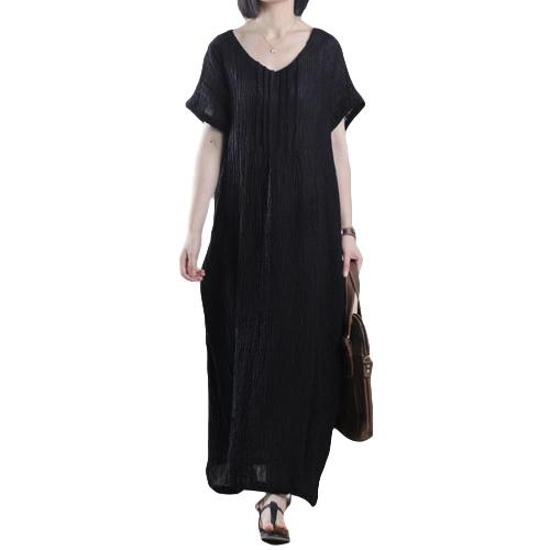Moda damska Pościel Maxi Sukienka Deep V Krótkie rękawy Kieszenie boczne Plus Rozmiar Robe Długa Sukienka Czarno / Szara